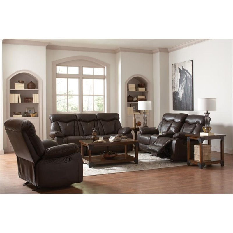 Coaster Zimmerman 3 Piece Faux Leather Reclining Sofa Set in Brown
