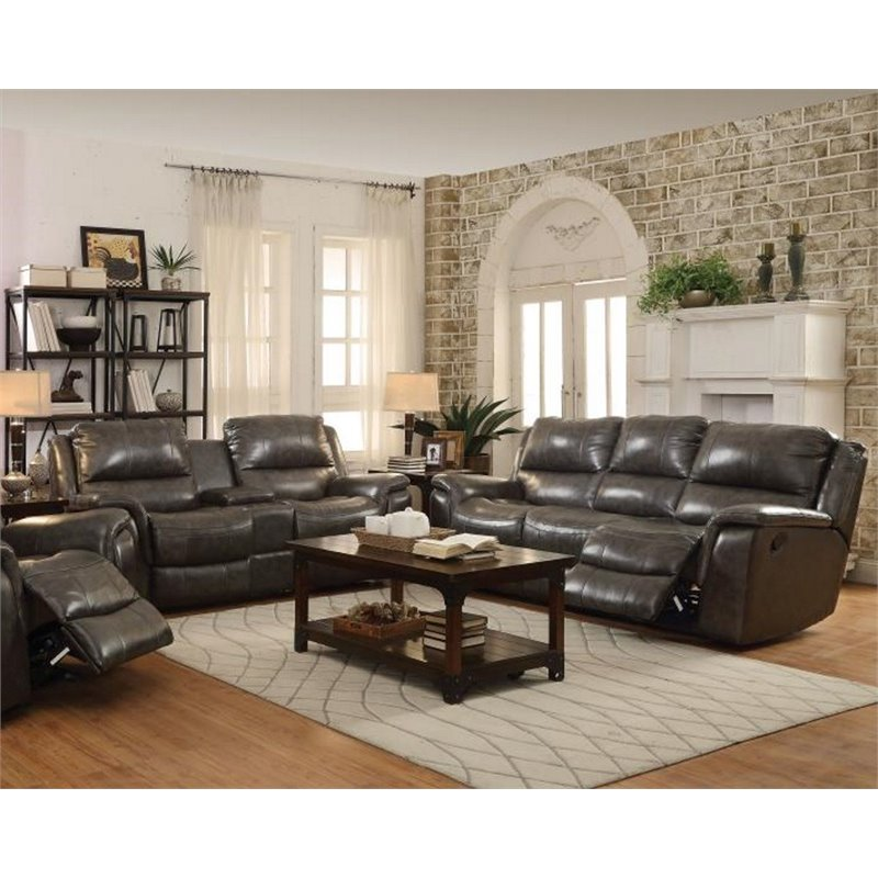 Coaster Wingfield 2 Piece Leather Reclining Sofa Set with USB Port