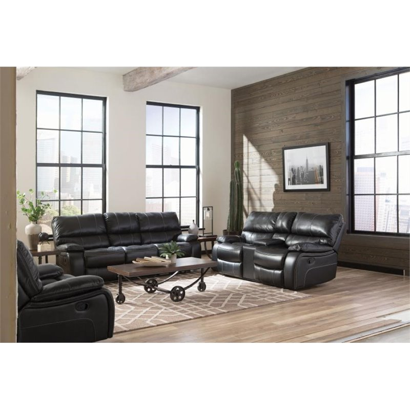 Coaster Willemse 3 Piece Faux Leather Reclining Sofa Set