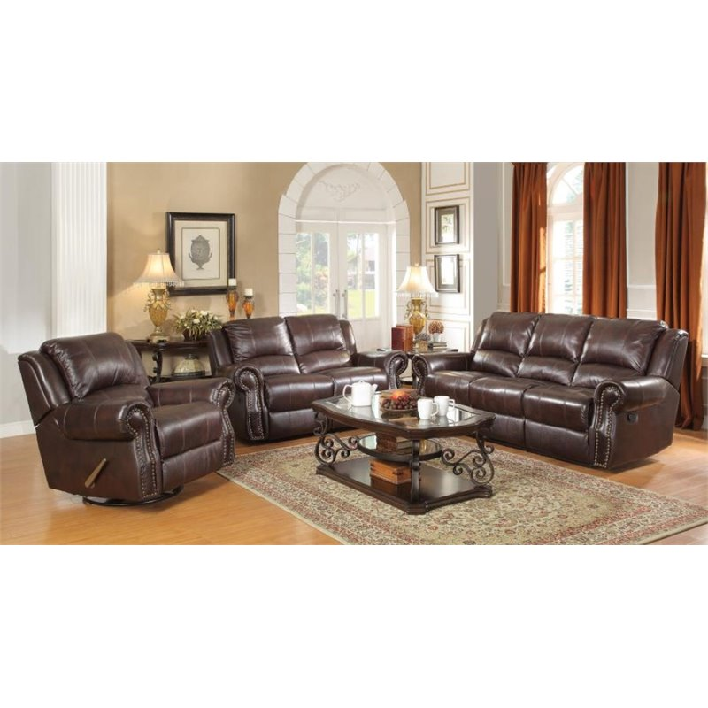 Coaster Rawlinson 3 Piece Faux Leather Reclining Sofa Set in Tobacco