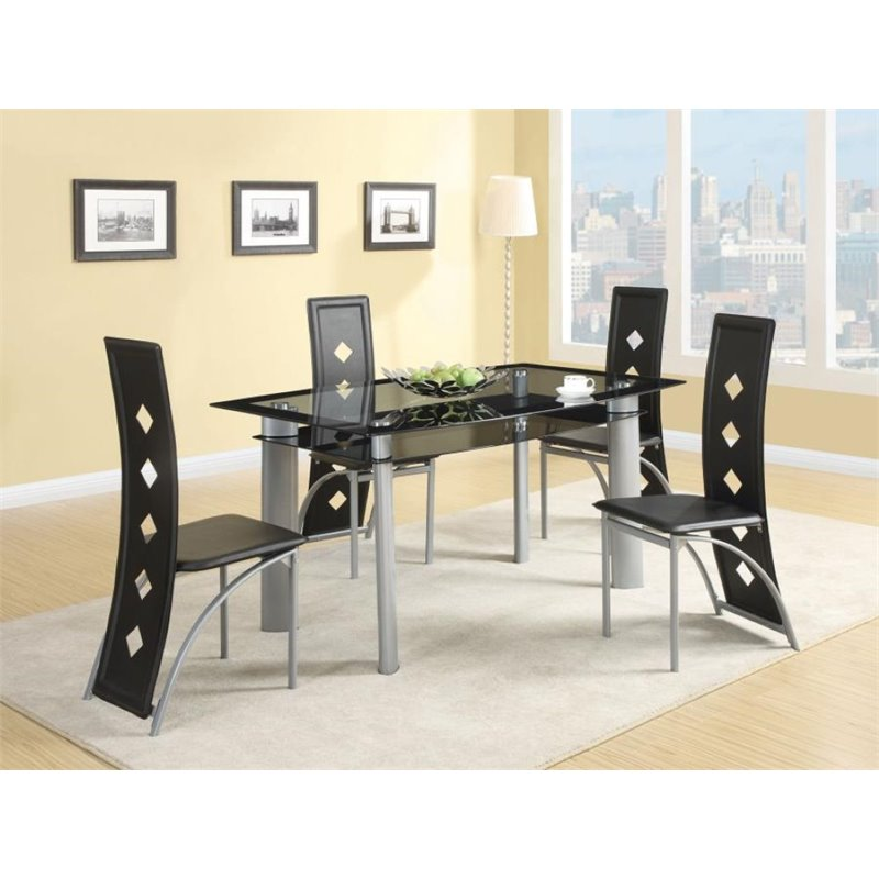 Coaster Fontana 5 Piece Glass Top Dining Set in Black and Silver