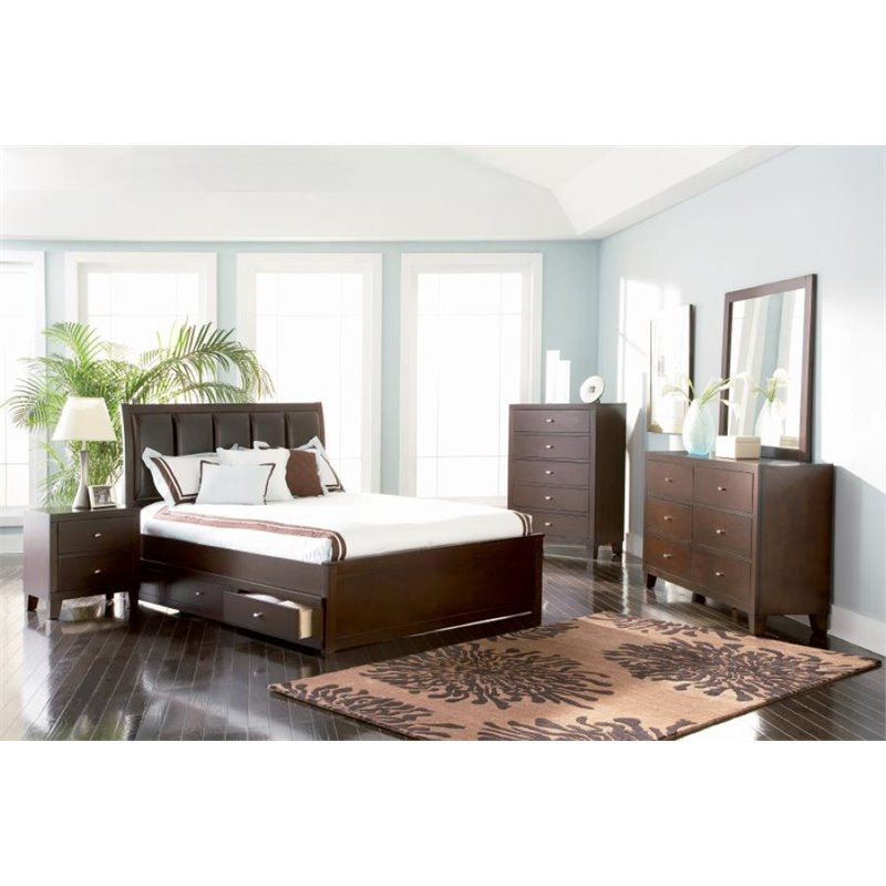 Coaster 5 Piece Upholstered California King Panel Bedroom Set
