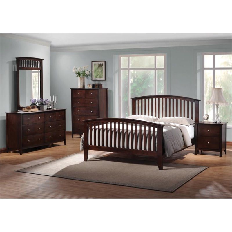 Coaster 4 Piece King Spindle Bedroom Set in Cappuccino