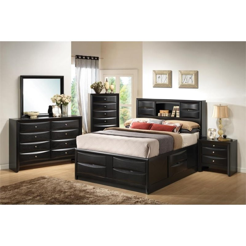 Coaster Briana 4 Piece King Storage Bedroom Set in Black