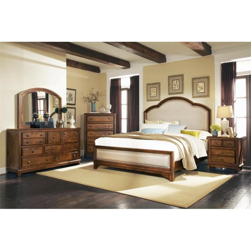 Coaster Laughton 5 Piece Upholstered King Panel Bedroom Set