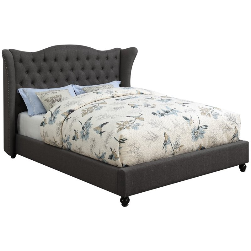 Coaster Newburgh Upholstered Queen Bed in Blue Gray