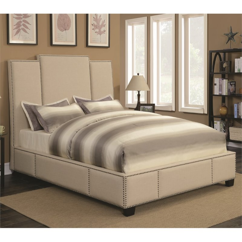Coaster Lawndale Upholstered Queen Bed in Beige
