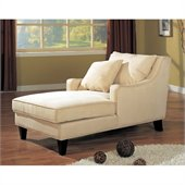 Coaster Dark Brown Chaise Lounger in Cream Microfiber