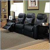 Coaster Hardwood Three Seat Leather Recliner Theater Chair Set In Black