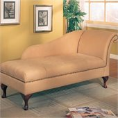 Coaster Storage Cherry Finish Chaise Lounge in Tan Microfiber