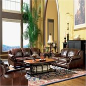 Coaster 3 Piece Tri-tone Leather Sofa Living Room Set in Brown