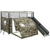 Coaster Twin Size Kids Metal Loft Bed With Slide in Camouflage