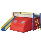Coaster Kids Twin Metal Loft Bunk Bed With Slide and Tent in Multicolor