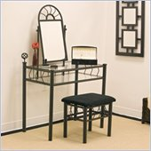 Coaster Wrought Iron Frosted Black Makeup Vanity Table Set with Mirror in Black Velour