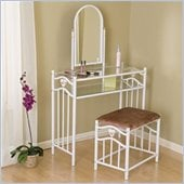 Coaster Glossy White Metal Makeup Vanity Table Set with Mirror in Mauve Velour
