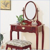 Coaster Elegant Wood Makeup Vanity Table Set with Mirror in Cherry Finish