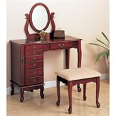 Coaster Eight Drawer Jewelry and Makeup Vanity Table Set with Swivel Mirror in Cherry Finish
