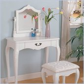 Coaster Wood Makeup Vanity Table Set with Swivel Mirror and Stool in White