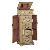 Coaster Victorian Seven Drawer Jewelry Armoire in Antique White