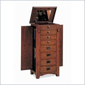Coaster Eight Drawer Jewelry Armoire in Mission Oak Finish