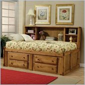 Coaster Rustic Twin Bookcase Storage Bed in Pine Finish
