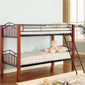 Coaster Haskell Metal Twin over Twin Bunk Bed in Natural Wood and Black Finish