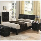 Coaster  Upholstered Queen Platform Bed in Black Vinyl