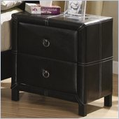 Coaster  Upholstered Nightstand in Black Bycast-Like Vinyl