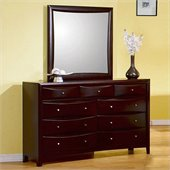 Coaster Six Drawer Dresser and Mirror Set in Rich Cappuccino