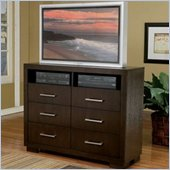Coaster  Six Drawer TV Dresser in Light Cappuccino Finish