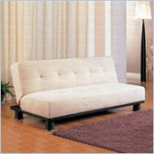 Coaster Contemporary Armless Convertible Sofa Bed in Beige