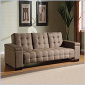Coaster Sofa Bed with Drop Down Console and Storage in Tan Microfiber