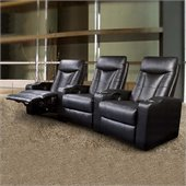 Coaster Pavillion Theater Seating - 3 Black Leather Chairs