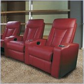 Coaster Pavillion Theater Seating - 3 Red Leather Chairs