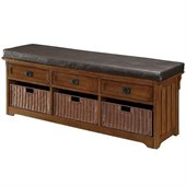 Coaster Oak Large Storage Bench with Baskets
