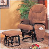 Coaster Deluxe Swivel Glider with Matching Ottoman in Brown