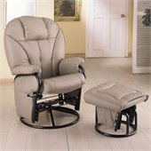 Coaster Bone Leatherette Glider with Ottoman