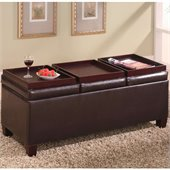 Coaster Contemporary Brown Faux Leather Storage Ottoman with Reversible Trays