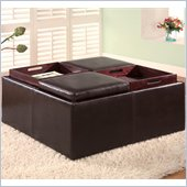 Coaster Dark Brown Contemporary Square Faux Leather Storage Ottoman with Tray Tops