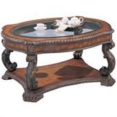 Coaster Doyle Traditional Oval Cocktail Table with Glass Inlay Top