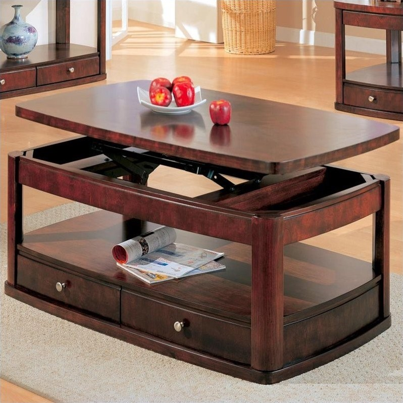 Coaster Evans Contemporary Rectangular Lift Top Cocktail Table In Cherry 201324