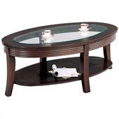 Coaster Simpson Coffee Table with Glass Top in Cappuccino