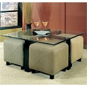 Coaster Cermak Contemporary Square Metal Cocktail Table with Glass Top