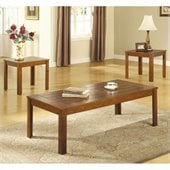 Coaster Casual 3 Piece Occasional Table Set with Pine Veneers
