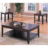 Coaster Contemporary 3 Piece Occasional Table Set with Shelves