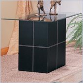 Coaster Williams Contemporary End Table With Bonded Leather Base and Glass Top