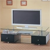 Coaster Contemporary Glass TV Stand with Drawers