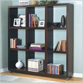 Coaster Wall 9 Shelf Divider Wood Bookcase in Cappuccino