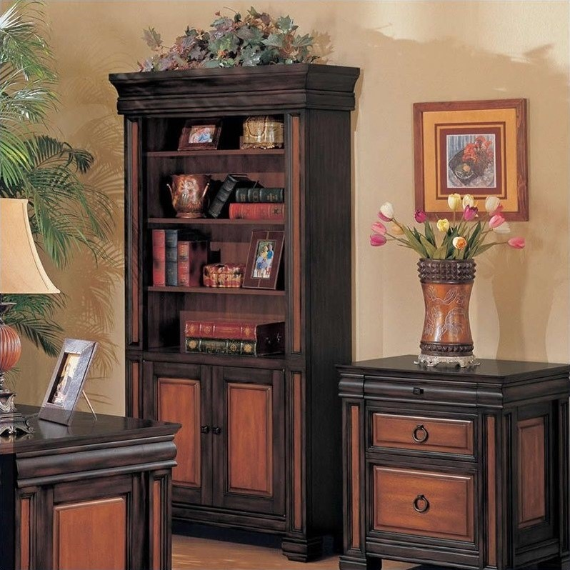 Chomedy Elegant Two Tone Bookcase in Black/Cherry
