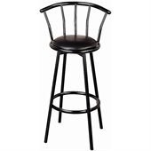 Coaster Dixie Upholstered Swivel Bar Stool in Black